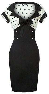 Vintage Style Rockabilly Dress white polka dot pinup swing retro 50's pencil