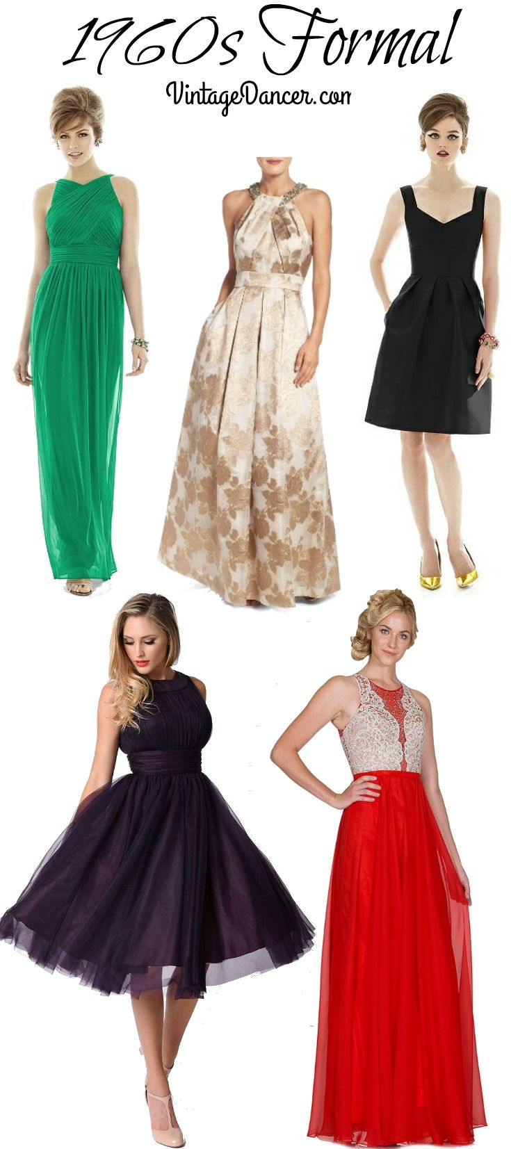 1960s Style Cocktail Prom Formal Dresses Formal Dresses 1960s Fashion Women 60s Fashion Dresses [ 1653 x 735 Pixel ]