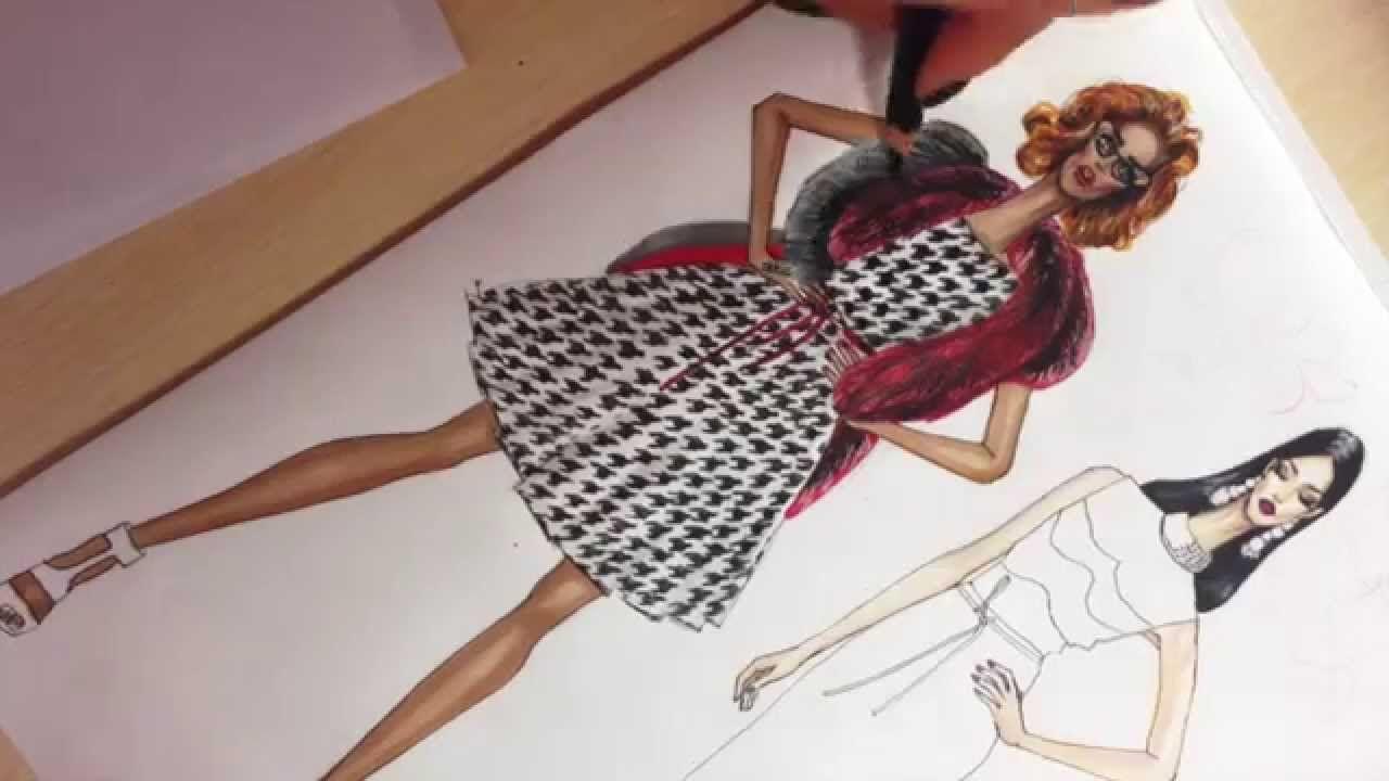 ERMANNO SCERVINO Dress. Houndstooth Pattern & Fox Fur