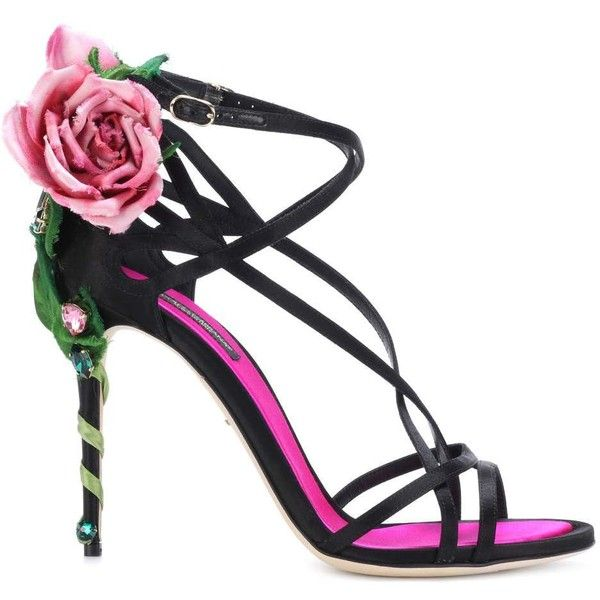 4cbe6312c82 Dolce   Gabbana Embellished Satin Sandals (14 175 SEK) ❤ liked on Polyvore  featuring