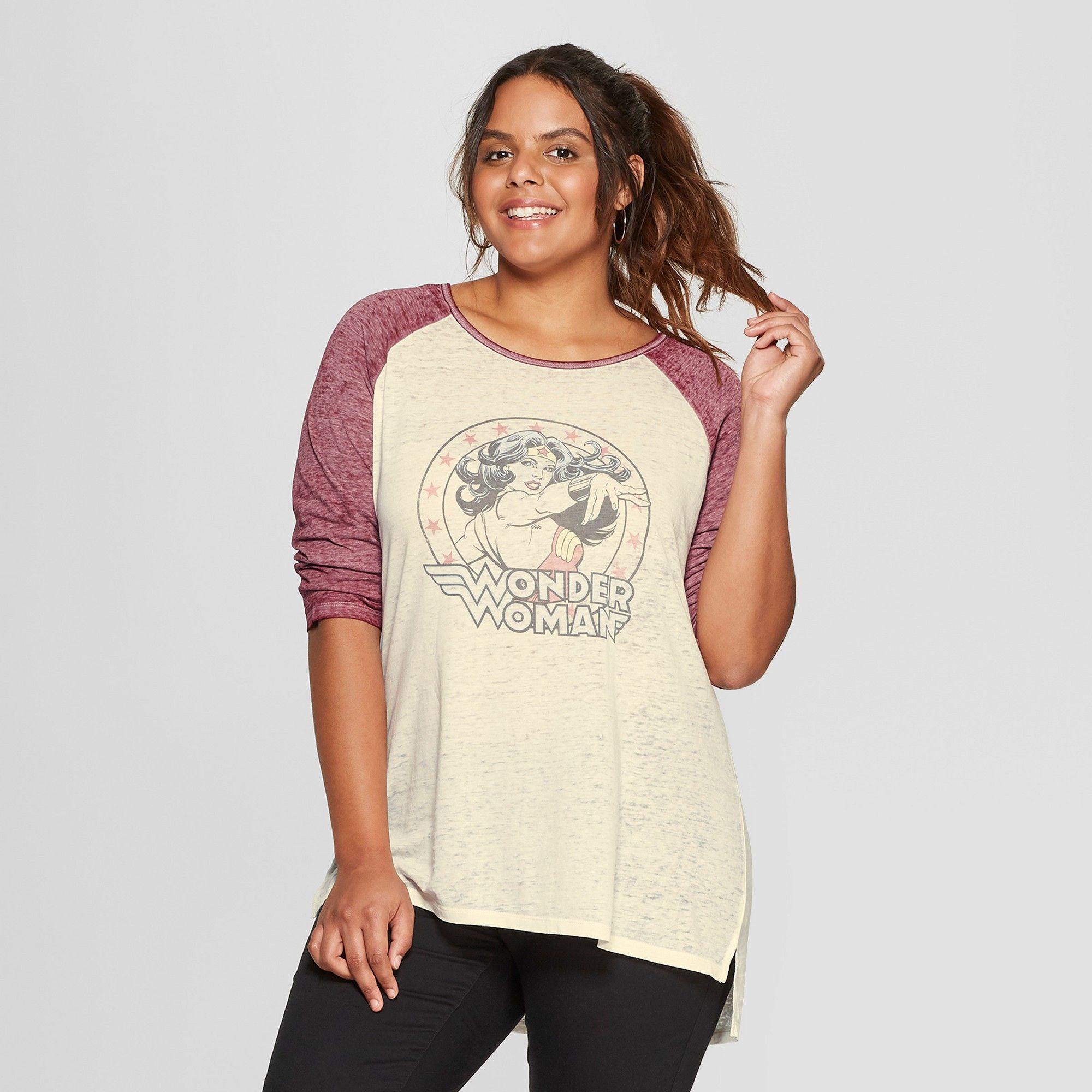 898f6215e16 Women s 3 4 Sleeve DC Comics Plus Size Wonder Woman Raglan Graphic T-Shirt