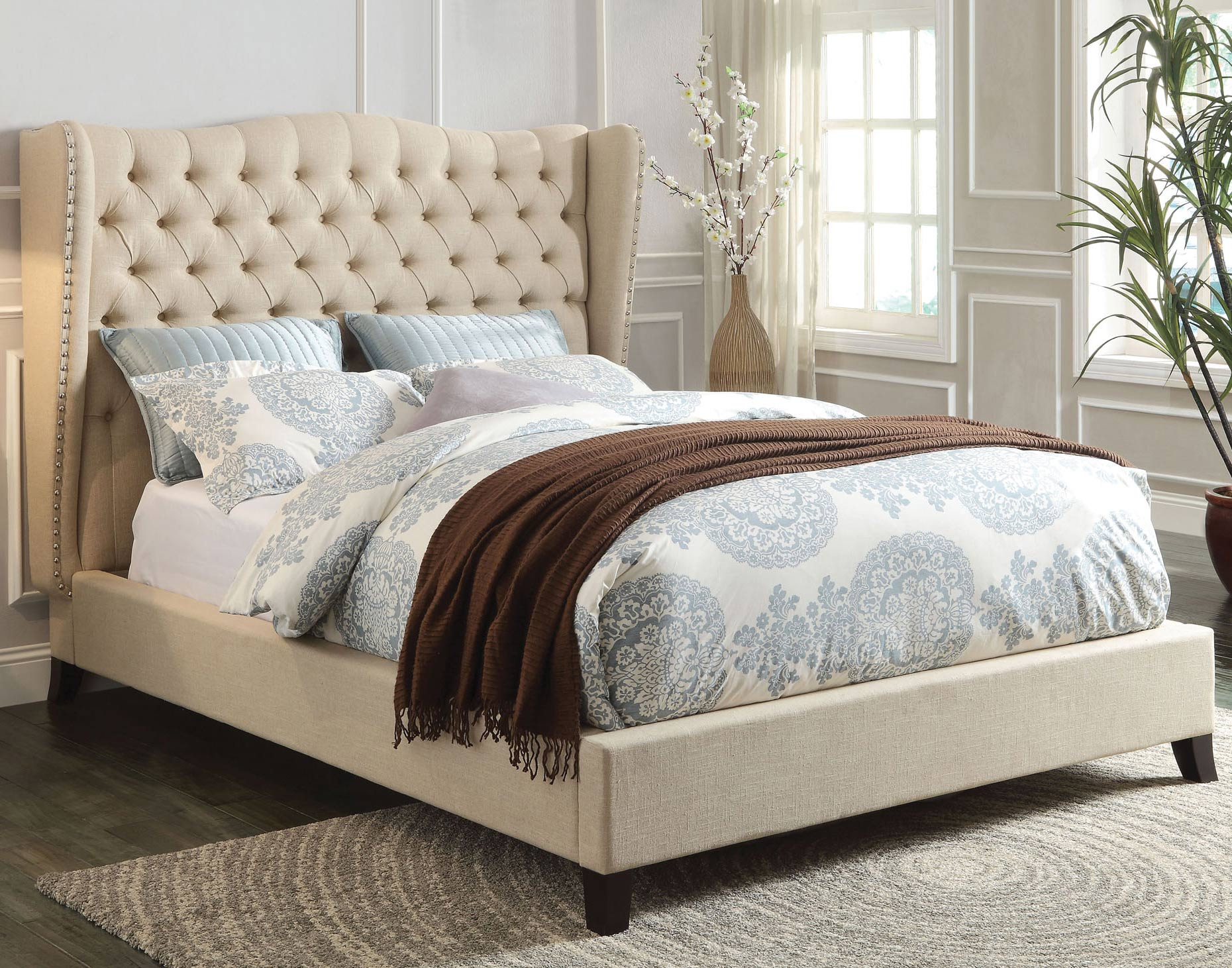 Faye Eastern King Linen Bed | Acme Furniture | Home Gallery Stores ...