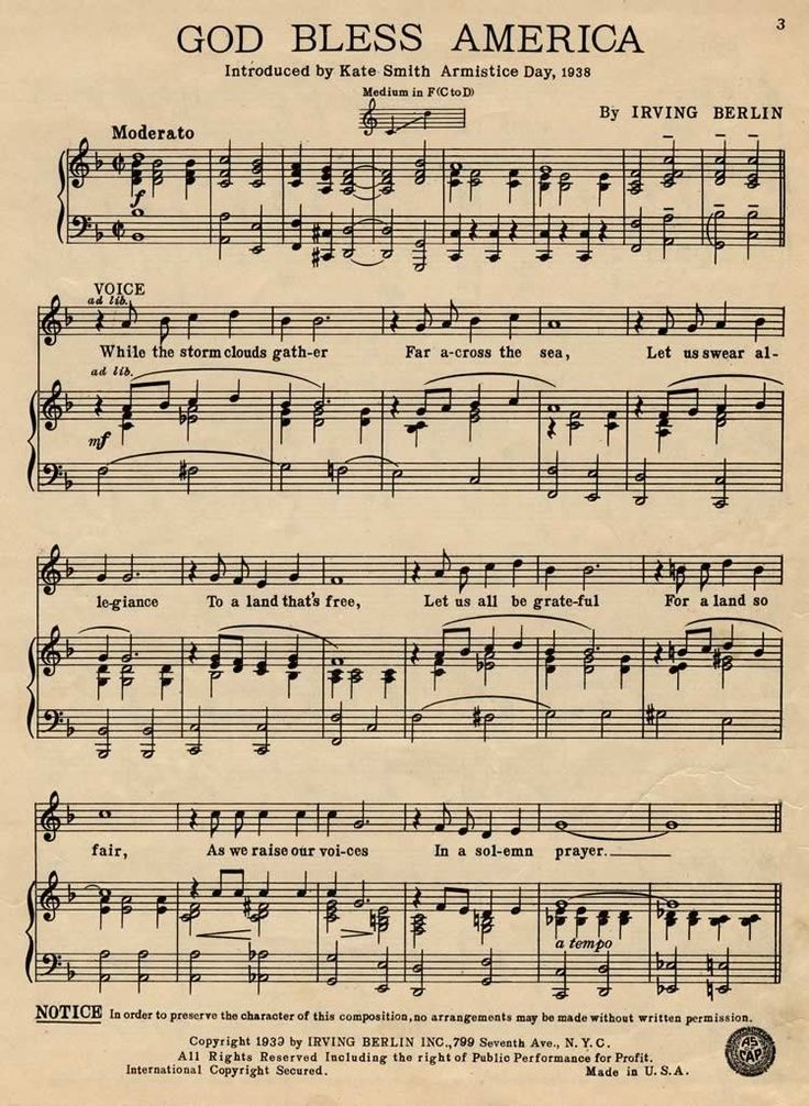 Free Printable God Bless America Sheet Music  Google Search