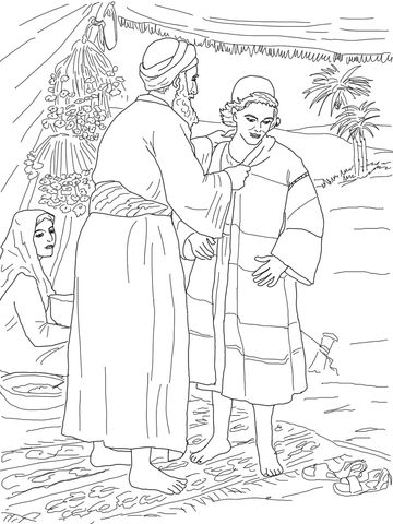 Jacob Giving Joseph The Coat Of Many Colors Coloring Page