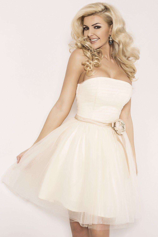 Ecru wedding dress  Sukienka mini z różą ecru  amazinggirl  Evening  Pinterest