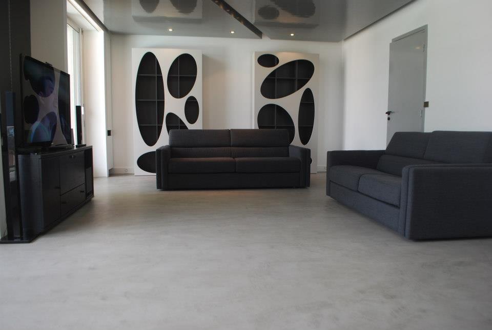 Intérieur d\u0027une salon-salle à maison en Articimo ciré Entreprise - Faire Une Terrasse En Beton Cire