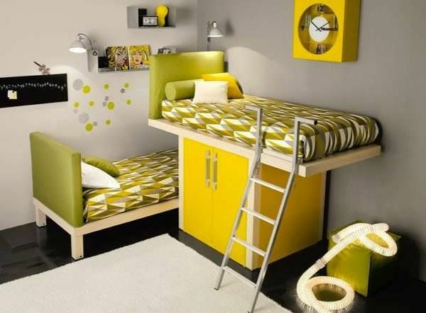 schlafzimmer für kinder gestalten gelbe möbel bett über dem