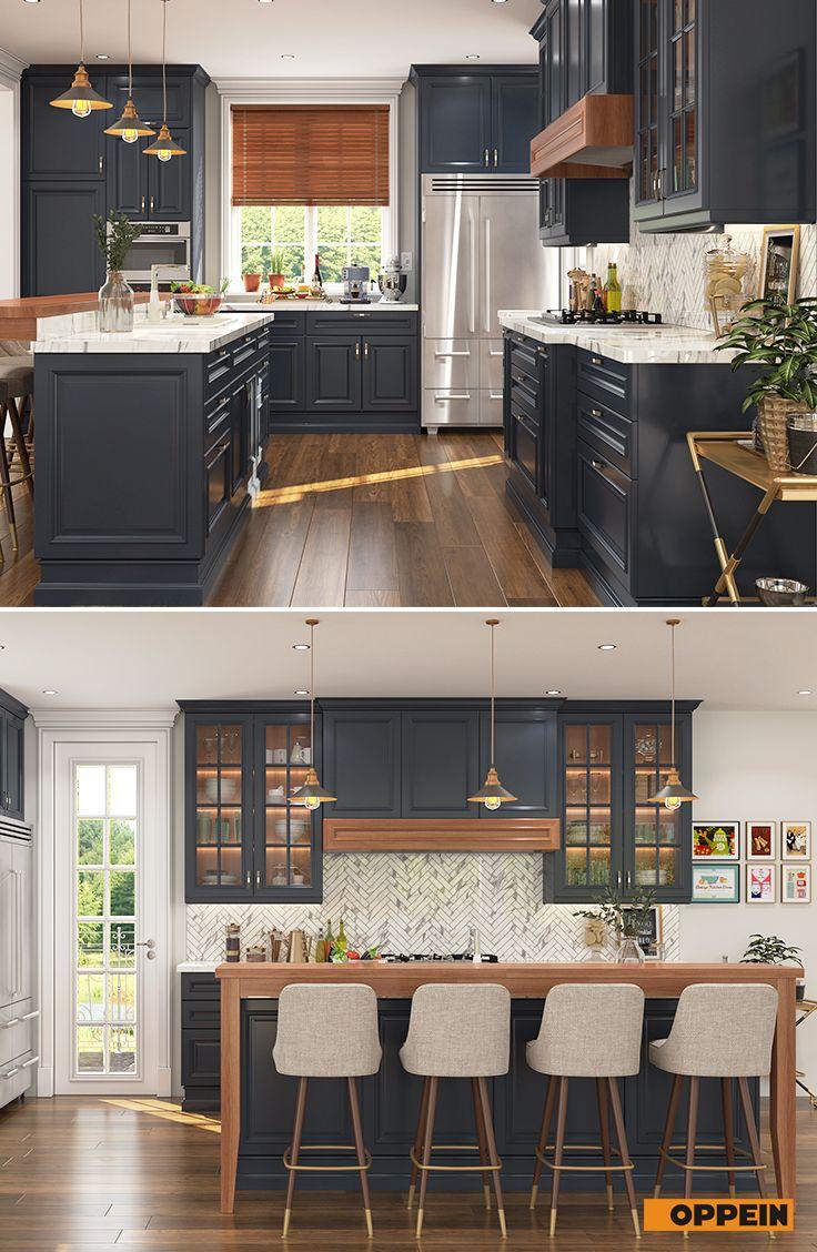 Shaker Style U Shaped Navy Blue Kitchen   Home decor kitchen ...
