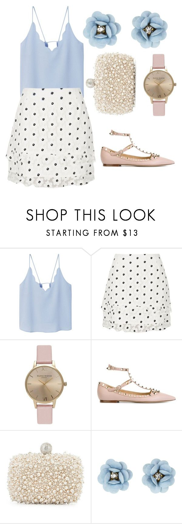 """""""Girly girl"""" by shelbyspadeglamour ❤ liked on Polyvore featuring MANGO, River Island, Olivia Burton, Valentino and Roger Vivier"""