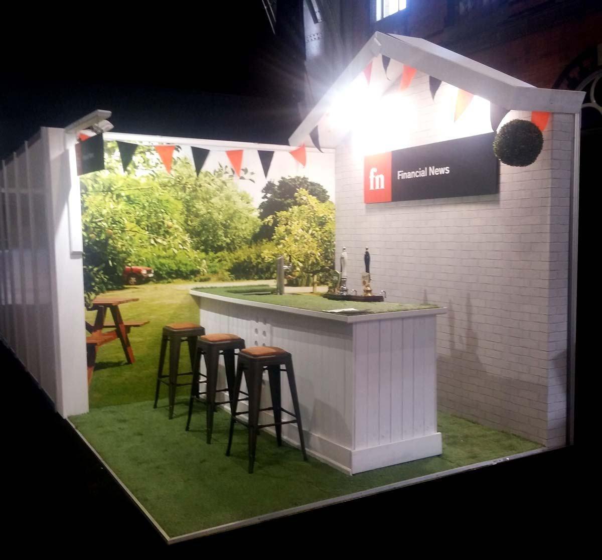 Exhibition Stand Builders Uk : Financial news garden pub booth at plsa manchester exhibition
