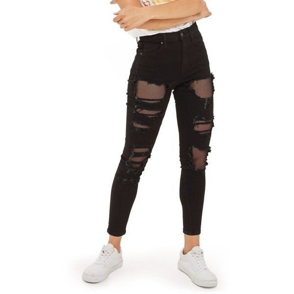 422882dc4b8 Women's Topshop Jamie Black Fishnet Rip Skinny Jeans ($95) ❤ liked on Polyvore  featuring jeans, black, skinny jeans, torn jeans, distressed jeans, skinny  ...
