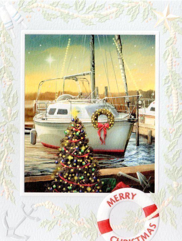 10 Boxed Christmas Cards Sailboat Sailing Marina Chesapeake Bay ...