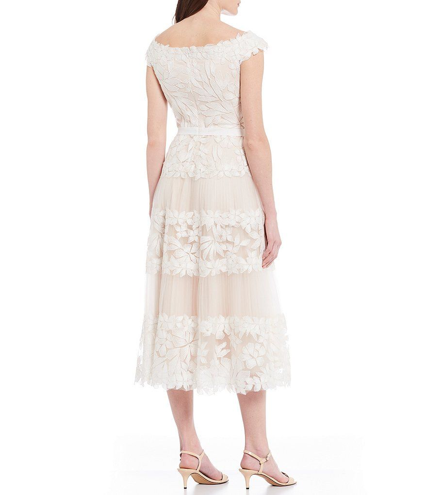 Tadashi Shoji Off The Shoulder Floral Embroidered Tulle A Line Midi Dress Dillard S In 2021 Dresses Elegant Bridal Gown Midi Dress [ 1020 x 880 Pixel ]