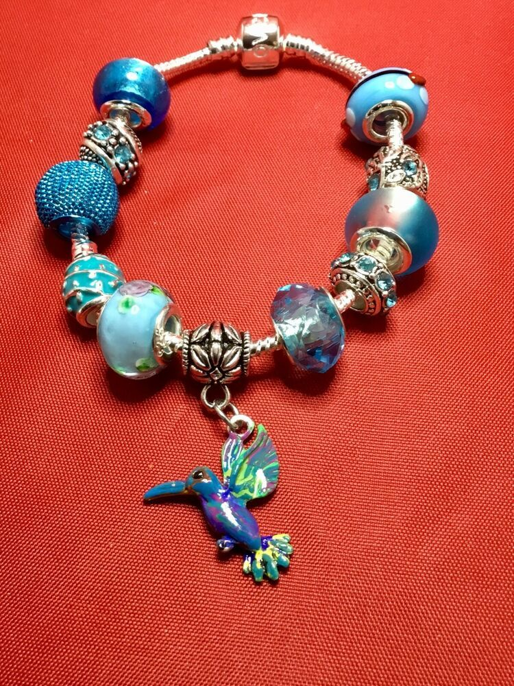 Blue European Charm Bracelet with Hummingbird Charm