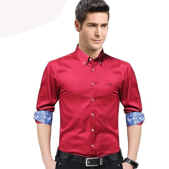KLJR Men Slim Fit Turn Down Collar Long Sleeve Retro Floral Printed Button Down Blouse Shirt