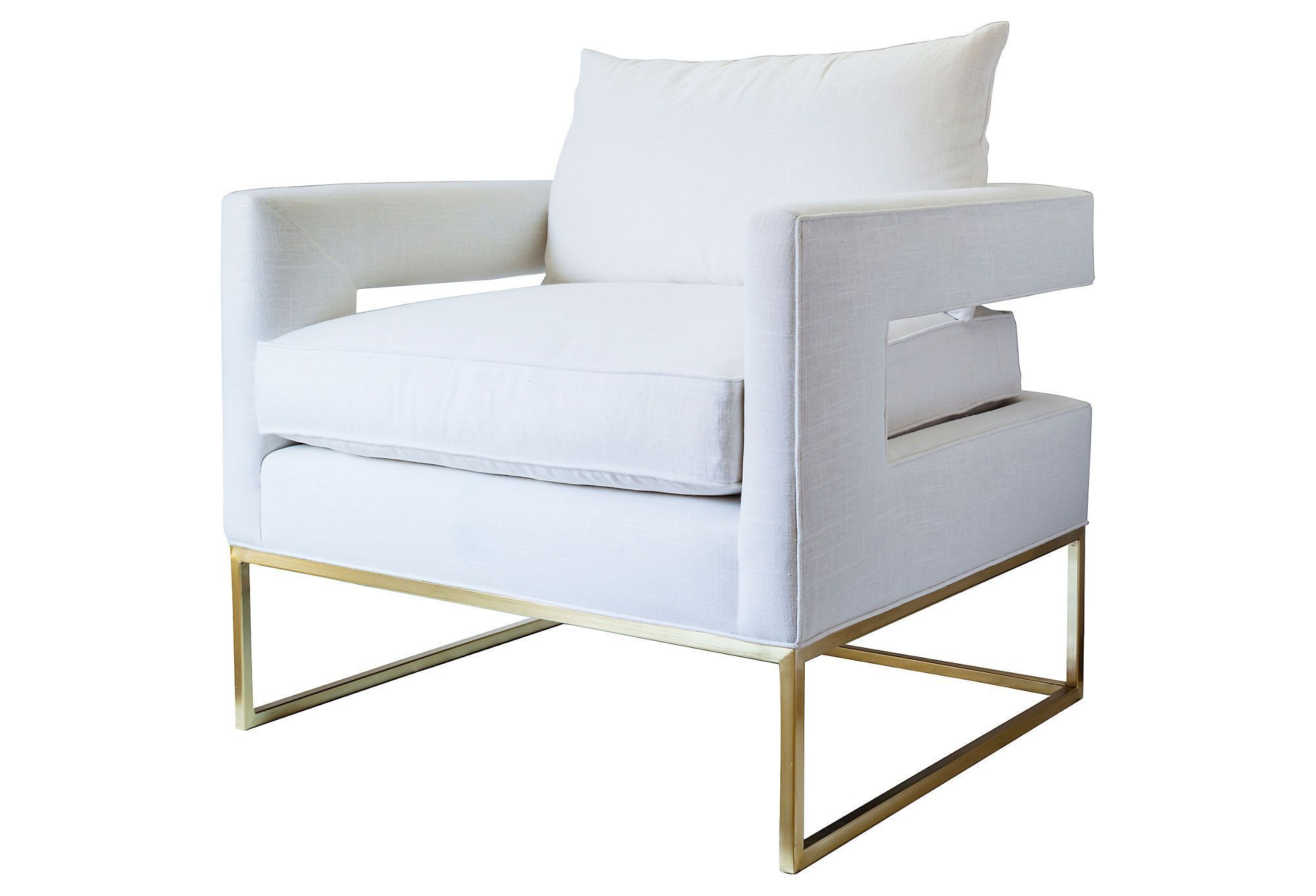 Bevin accent chair goldwhite linen one kings lane