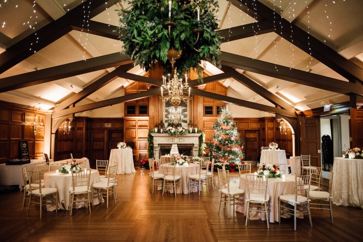 University Club Wedding Reception Hanging Greenery Chandelier