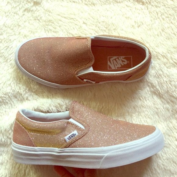 Vans Rose Gold Slip On Vans The Glitter Textile Classic