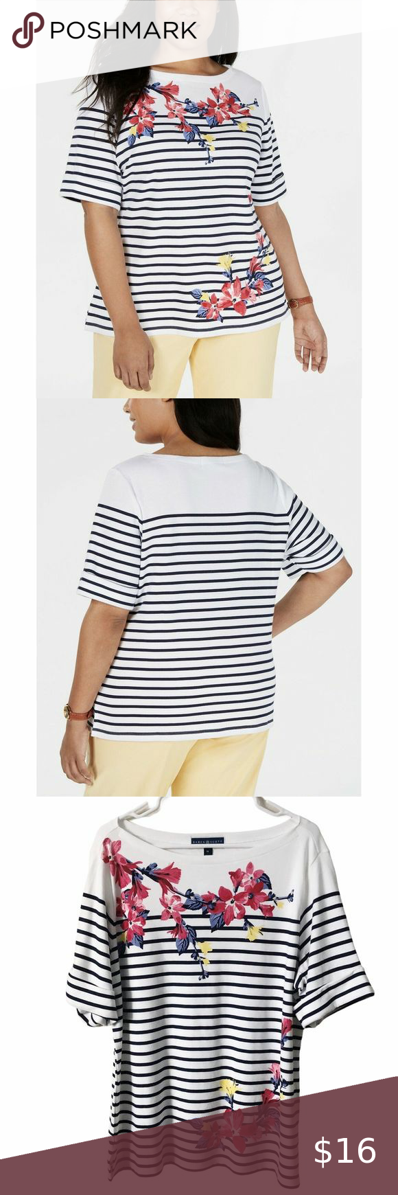Karen Scott Womens Plus Striped Cuffed Pullover Top