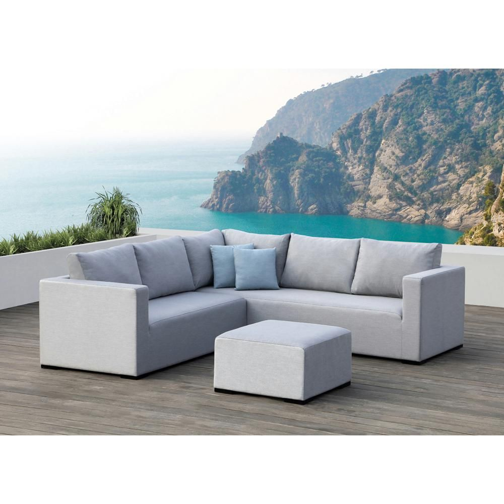Ove decors ego gray 3 piece aluminum outdoor sectional set with sunbrella gray cushions