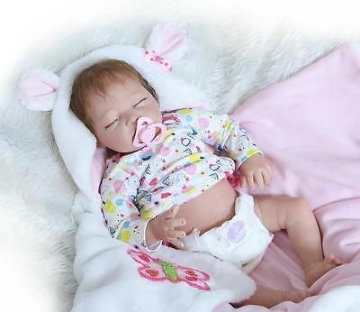 22in Real Life Newborn Preemie Girl Silicone Vinyl Reborn Baby Dolls Cute Toys