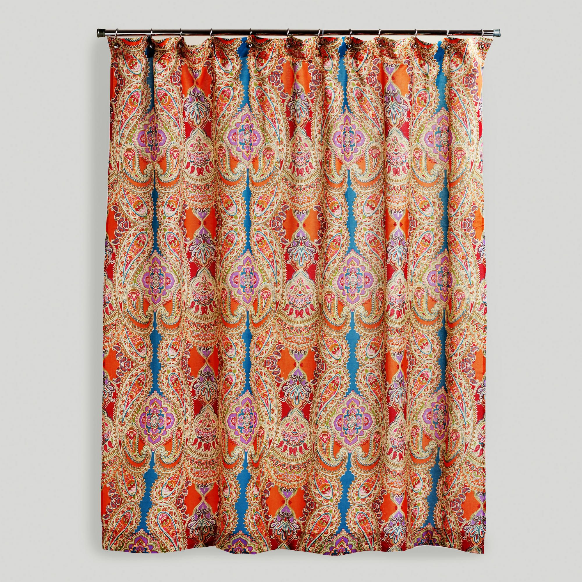 New Shower Curtain Upstairs Bathroom Painting The Room And Vanity Based Off Colors Of World Market Shower Curtain Boho Shower Curtain Paisley Shower Curtain
