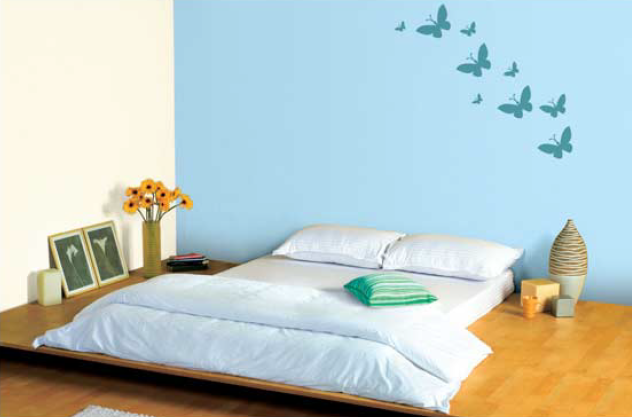 Blue Bedroom! Feature wall in Soft Blue 9210 with neutral on ...