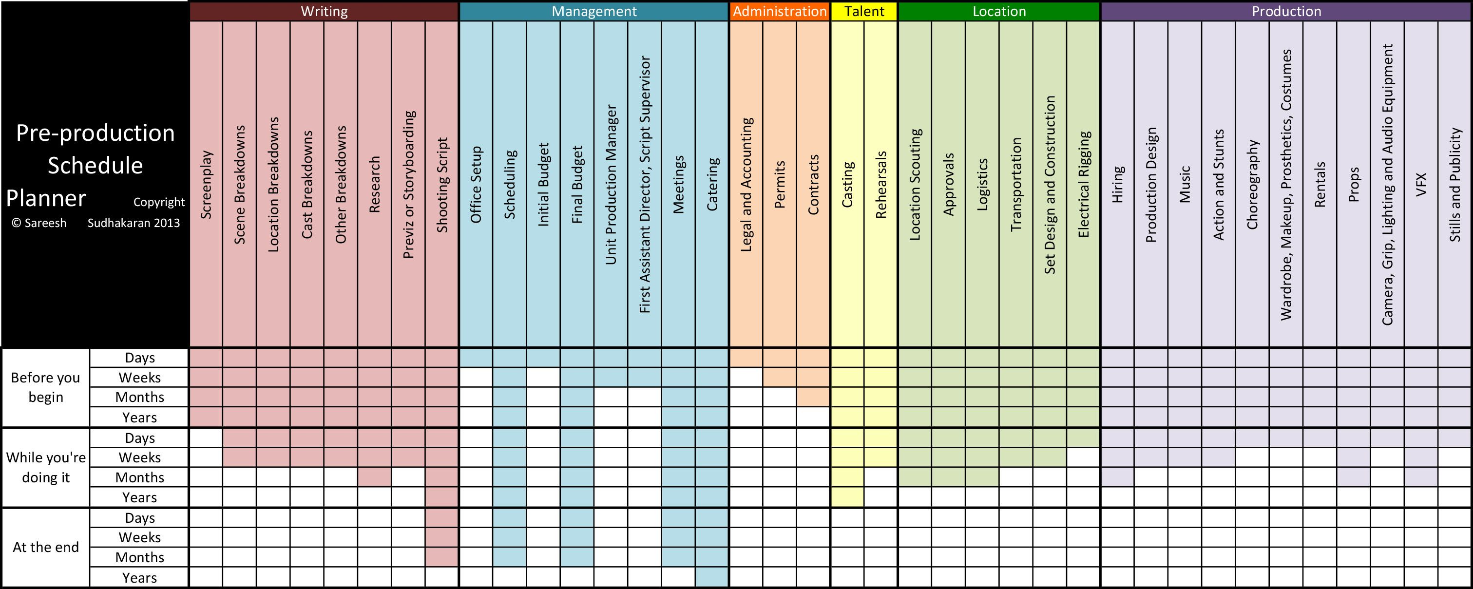 tv production schedule template