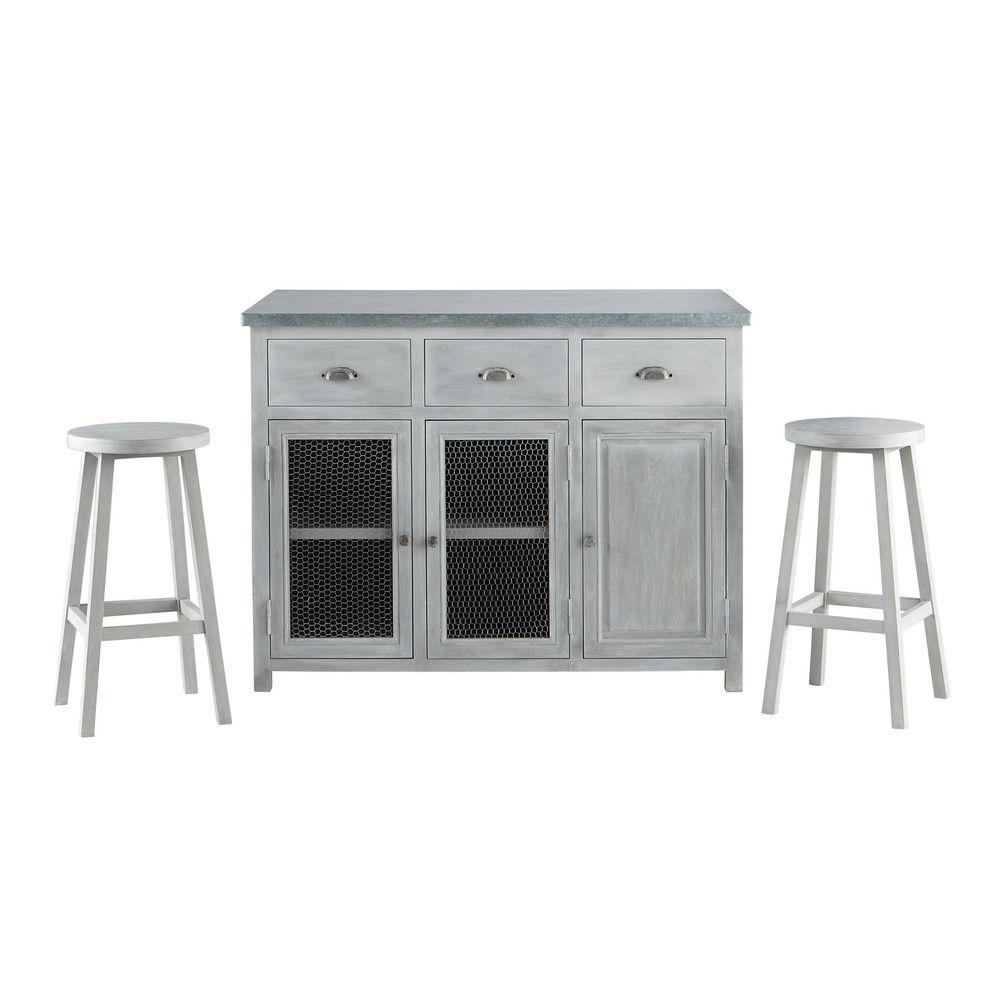Kücheninsel + 2 Hocker aus Mangoholz, B 120 cm, grau | Pinterest ...