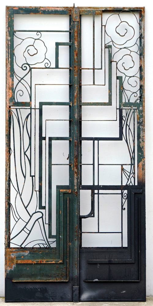 1930s art deco wrought iron double entry door inspiration art a pair of art deco iron gates structural gates architectural carters price sciox Images