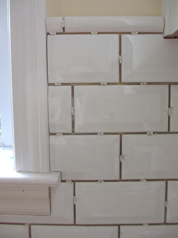 Beveled Subway Tile Backsplash Placed The Main Tiles First Primarily And Then Put Trim Pieces