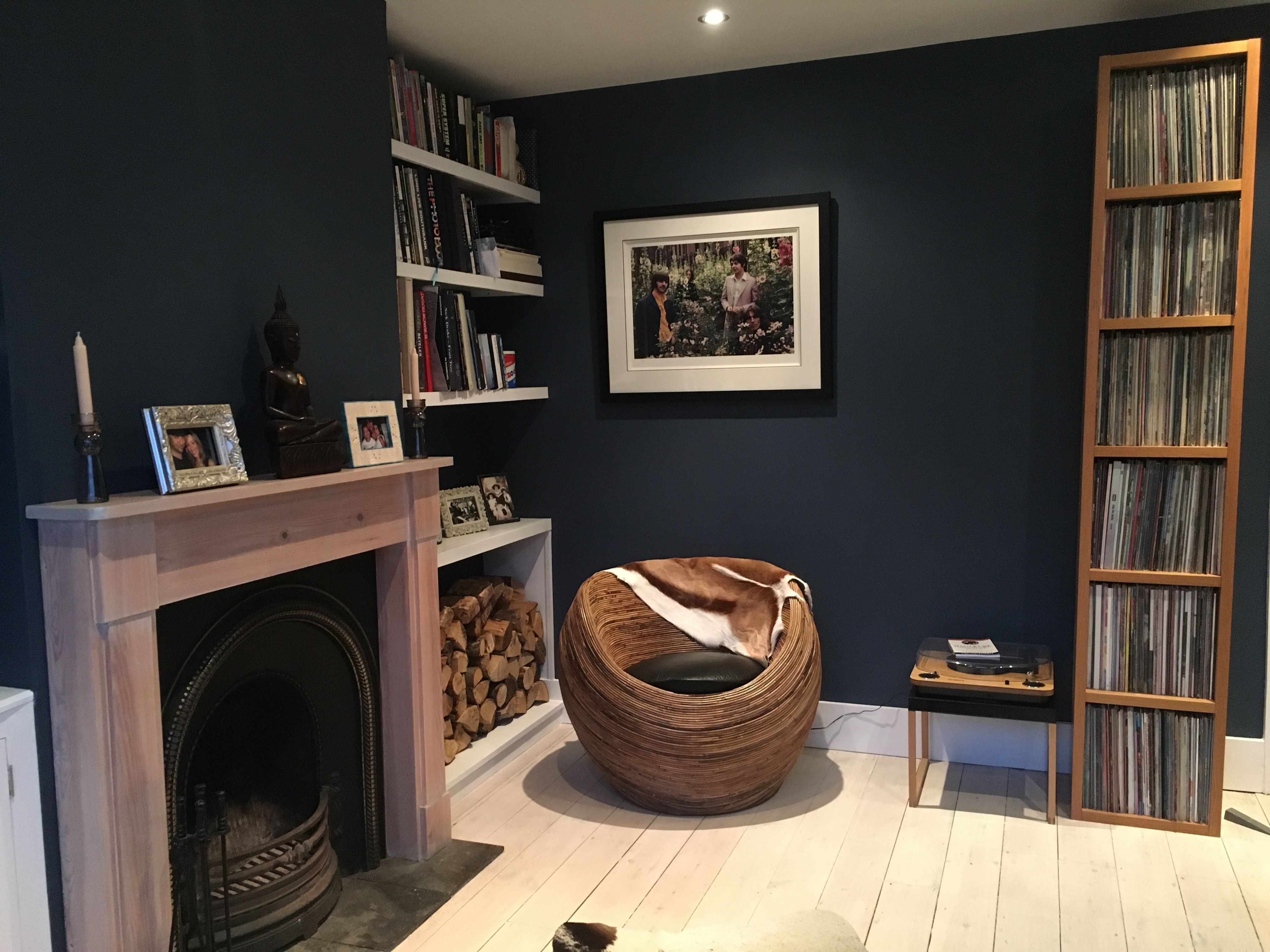 Farrow And Ball Stiffkey Blue Gives This North Facing Room A Cosy Feel Cosy Living Room Blue Living Room 1930s Living Room