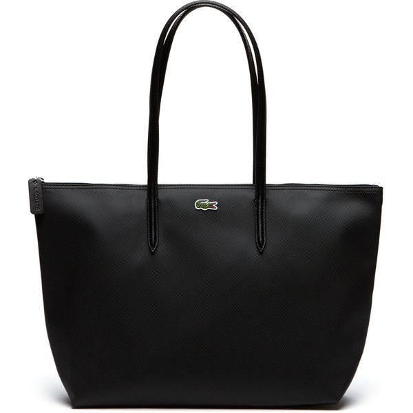 Black Women s L.12.12 Concept Zip Tote Bag (125 CAD) ❤ liked on Polyvore  featuring bags, handbags, tote bags, bags bags, leather goods, lacoste  tote, ... 919d363cba