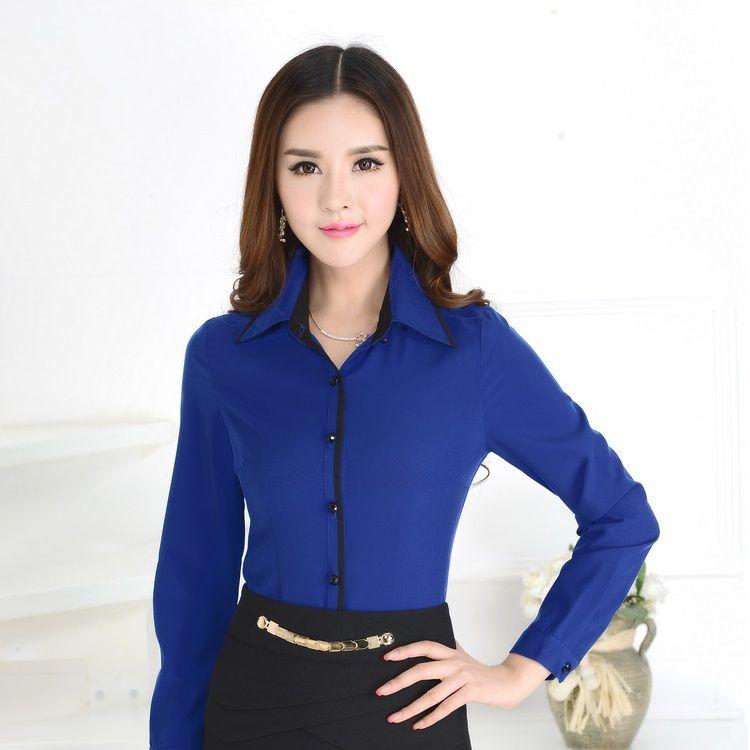 af1ade58a Formal camisas azules mujeres trabajan blusas de manga larga ...