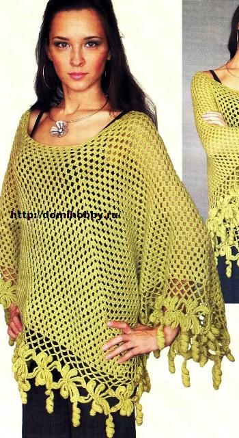 Great Poncho With Diagrams Croket Crochet Knit
