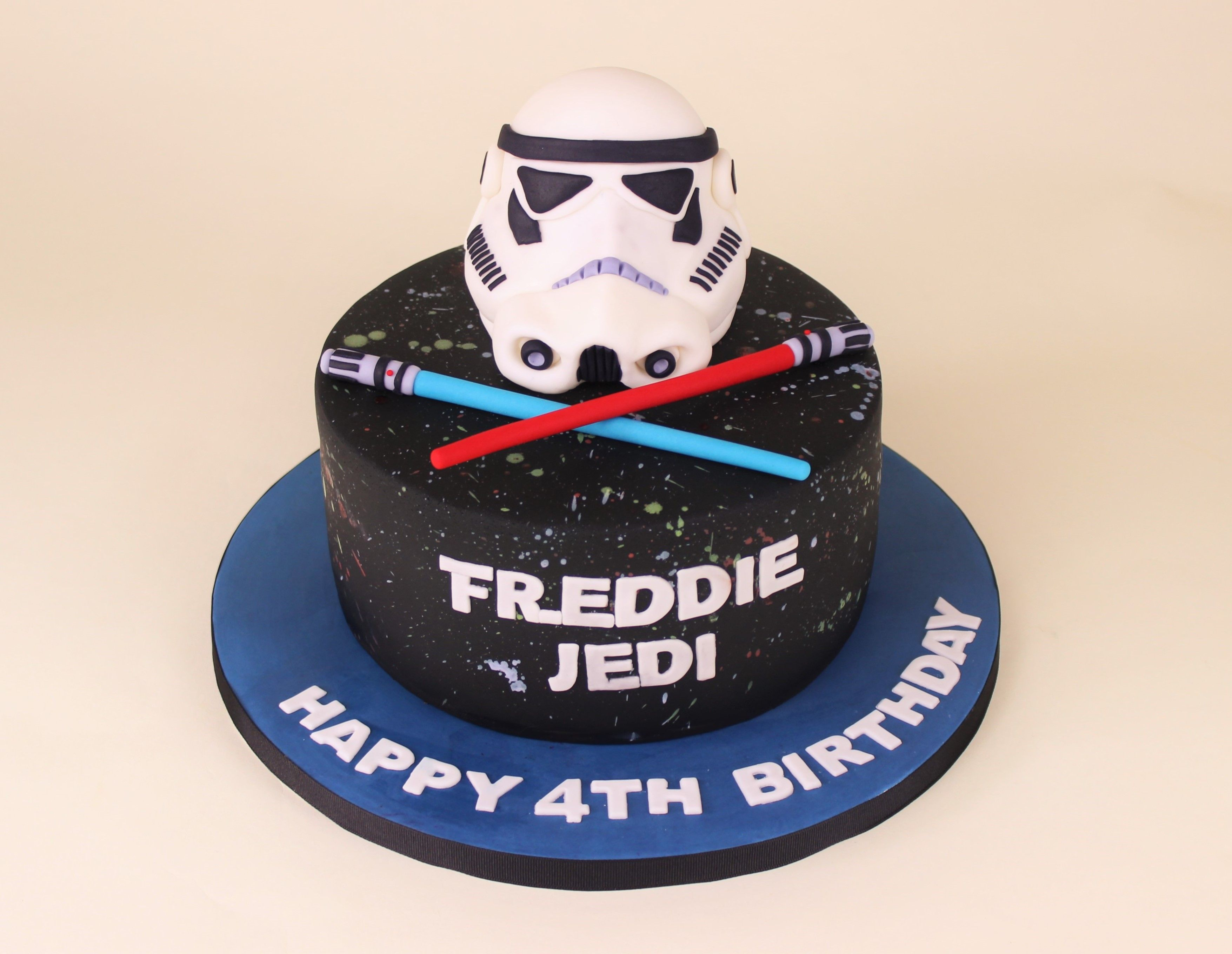 Superb Star Wars With Stormtrooper Helmet And Lightsaber Cake Star Wars Funny Birthday Cards Online Sheoxdamsfinfo