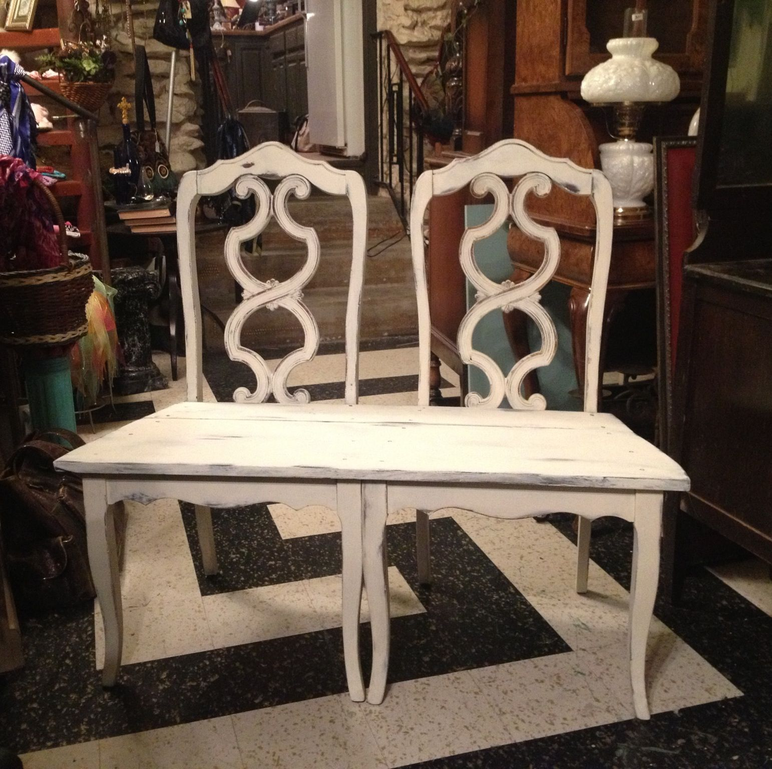 Chair Bench Done With Sweet Cream Plaster Paint Divine Escape Bartlesville Ok