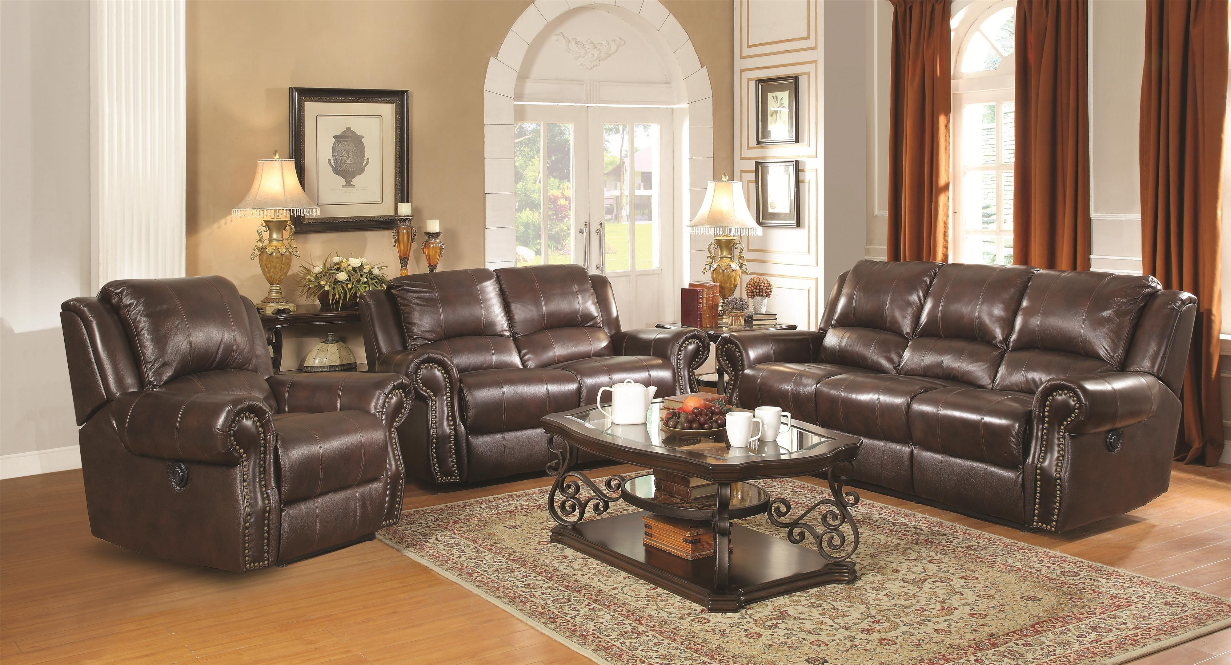 Sir Rawlinson Reclining Living Room Group By Coaster Burgundy Leather Sofa