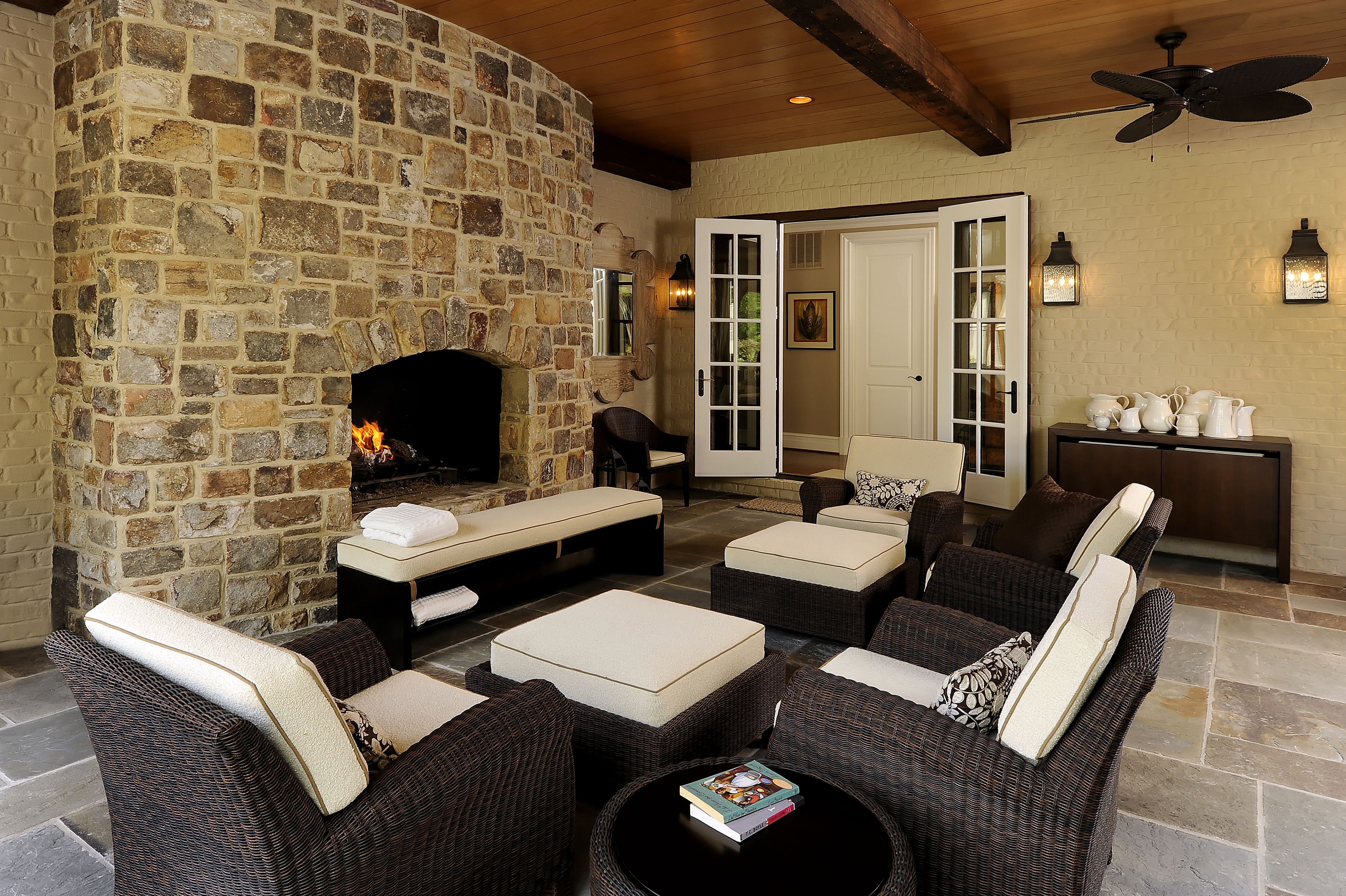 Snuggle up by the outside fireplace!