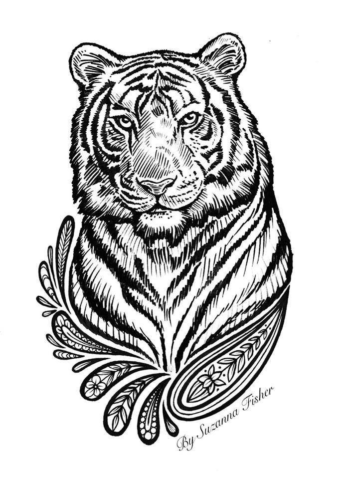 kleurplaat volwassenen dieren tijger kleurplaten dieren