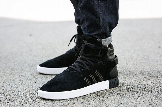 reputable site 34bee 1459b Unisex Adidas Tubular Invader Strap Black Trainers ...