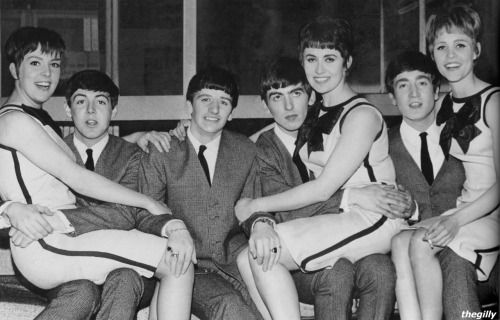 """The Beatles with the Vernon Girls on their laps, 14 April 1963. Scan from """"Beatles: Then There Was Music"""" by Tim Hill."""