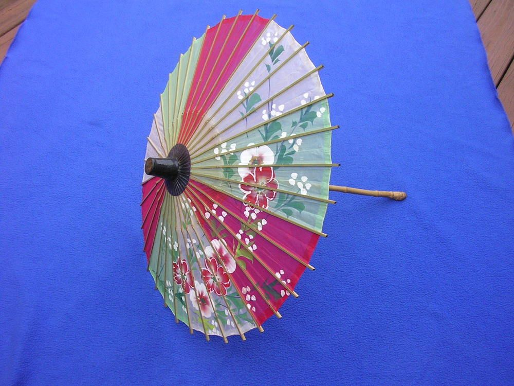Vintage Japanese Parasol Umbrella Asian Painted Silk & Bamboo Curved Handle Doll
