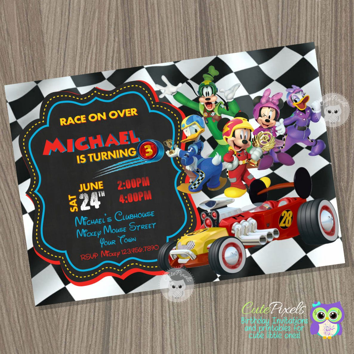 Mickey Mouse Roadster Racers Invitation, Mickey And The Roadster Racers  Birthday, Mickey Mouse Birthday