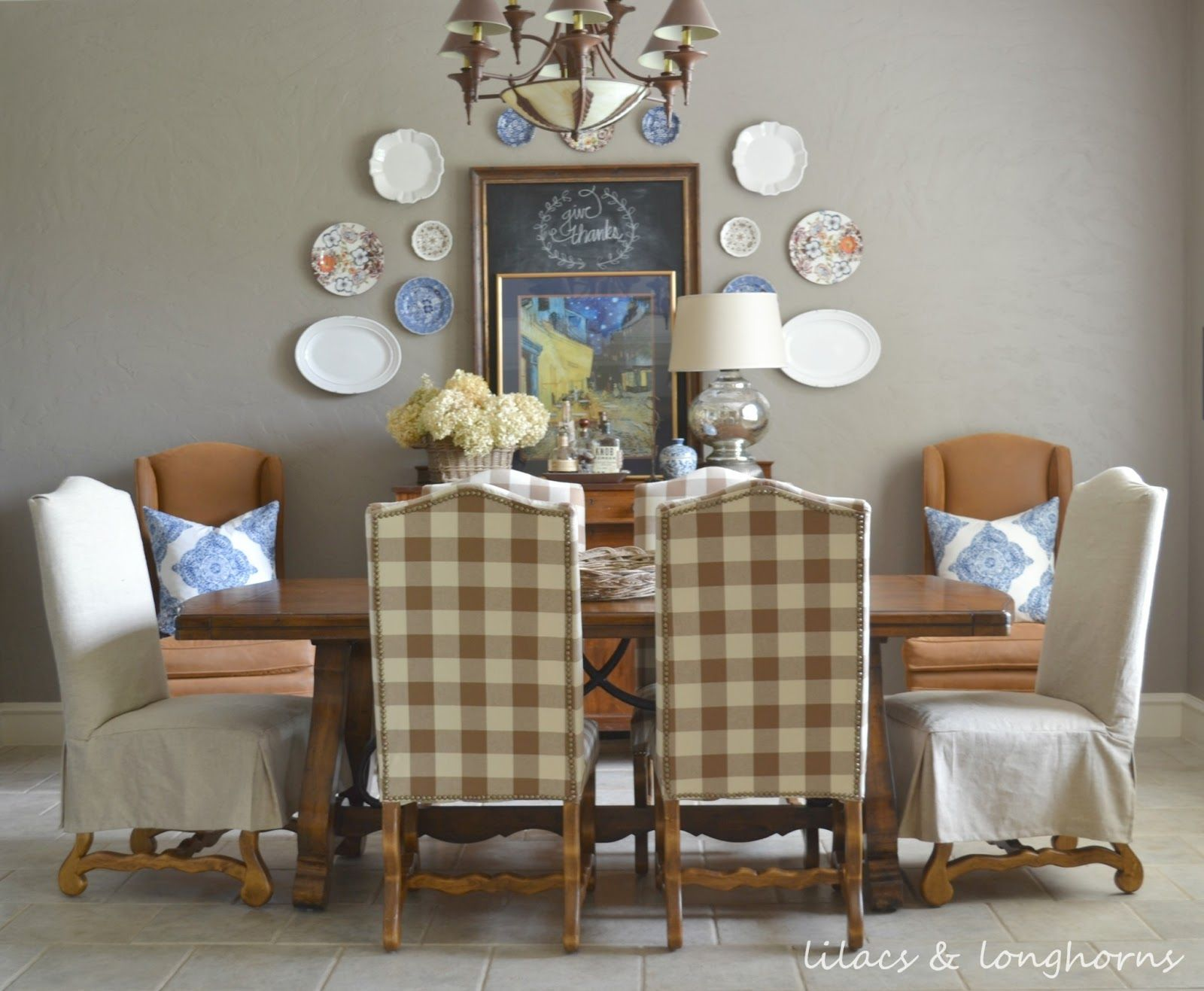 Buffalo Checked Chairs And A Plate Wall In The Dining Room Custom Cost To Reupholster Dining Room Chairs Design Ideas