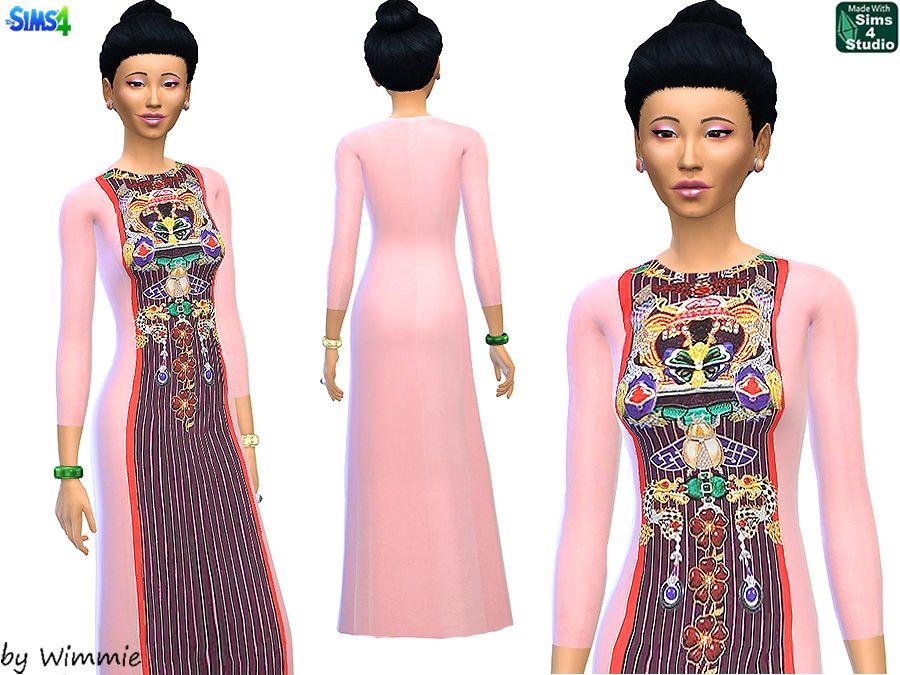Sims 4 - Printed Silk Dress Mary Katrantzou   Sims4: national ...