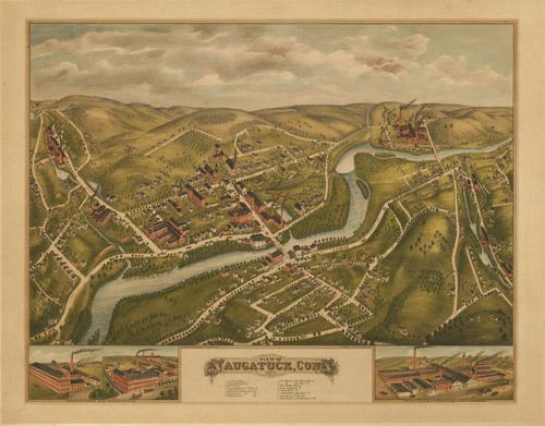 View Of Naugatuck Connecticut 1877 Year 1877 City Naugatuck County New Haven State Connecticut Country United States