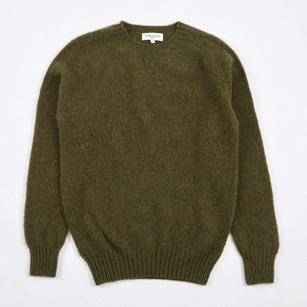 97d87047fb331e YMC Suedehead Brushed Crew Knit - Green (Image 1)