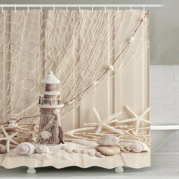 Waterproof Mouldproof Beach Print Shower Curtain Apricot 180cm 180cm Beach Shower Curtains Nautical Bathroom Decor Fabric Shower Curtains