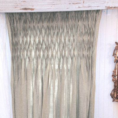 Superior Smocked Organic Linen Curtain Panel
